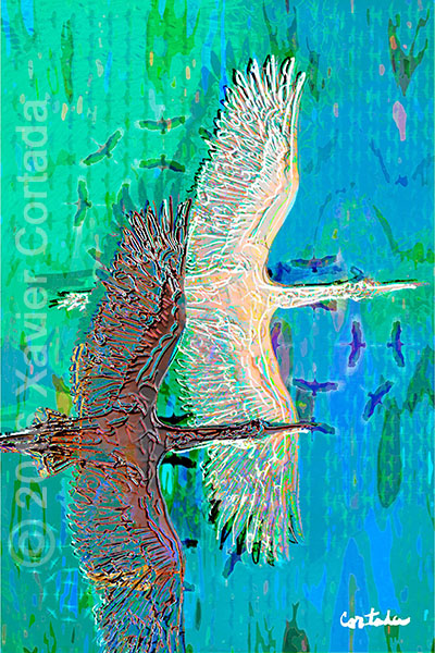 "Xavier Cortada, ""(Florida is…) Wood storks,\"" archival ink on aluminum, 60\″ x 40\"", 2016."