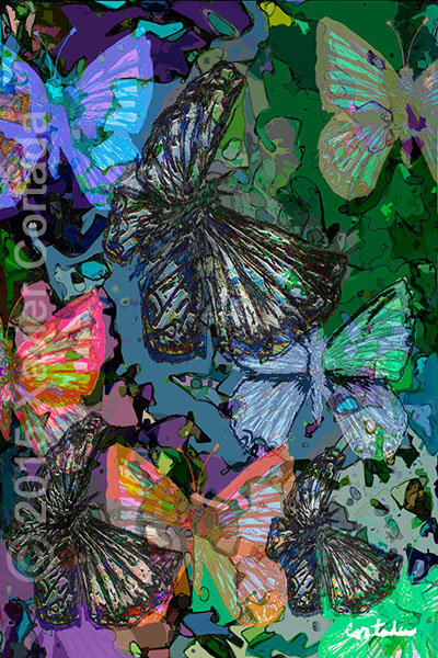 "Xavier Cortada, ""(Florida is…) Miami Blue Butterflies,\"" archival ink on aluminum, 60\″ x 40\″, 2015."