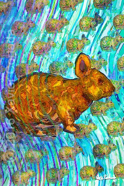 "Xavier Cortada, \""(Florida is…) Lower Keys Rabbits,\"" archival ink on aluminum, 60\″ x 40\"", 2016"