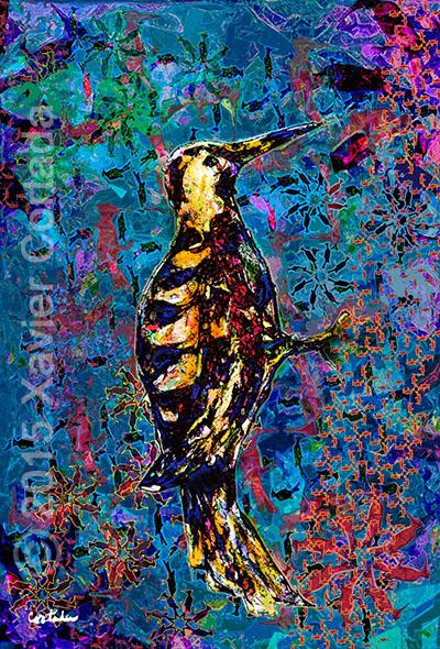 "Xavier Cortada, \""(Florida is…) Red-cockaded Woodpeckers,\"" archival ink on aluminum, 60\″ x 40\″, 2015."
